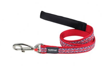 Red Dingo Dog Lead Union Jack Flag on Red